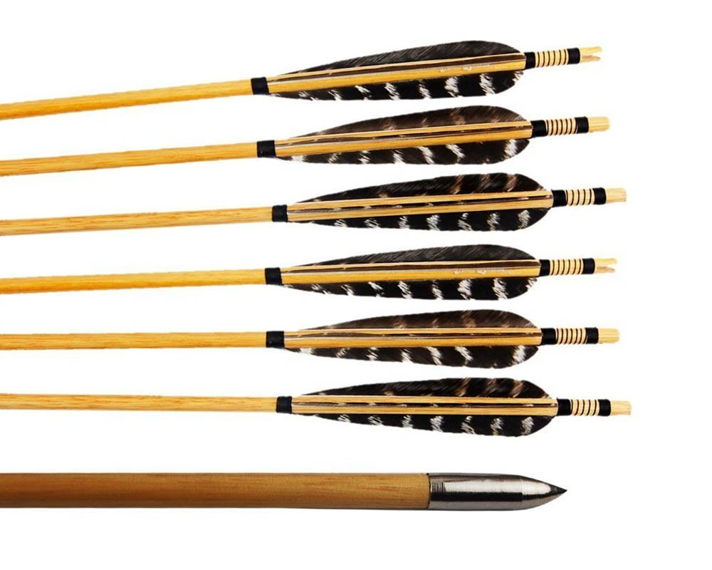 Huntingdoor 12 Pcs Turkey Feather Fletching Wooden Target Arrows