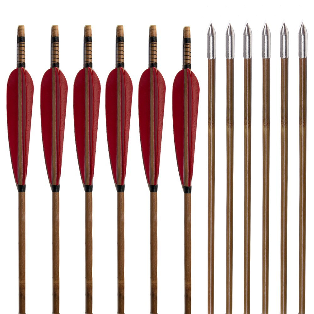 Huntingdoor Traditional Bamboo Fletching Arrows (Red)