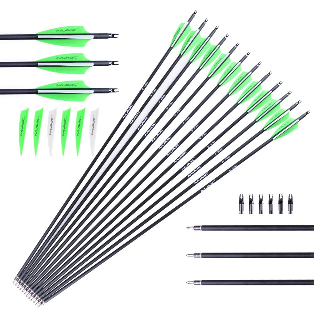 MAK Carbon Archery Practice Hunting Arrows 12 pack