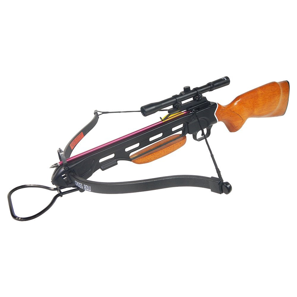 Camouflage Hunting Wood Crossbow Archery Bow 150lb Black