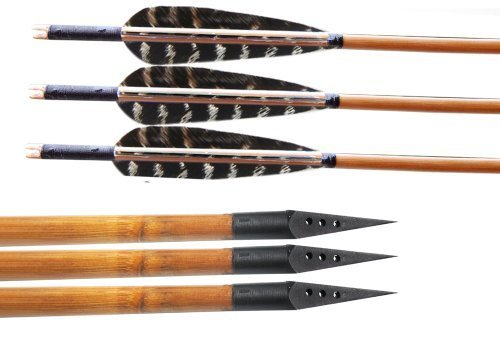 Huntingdoor 12 Pack Bamboo Shaft Arrows
