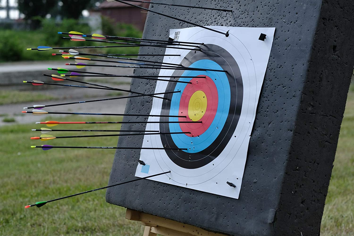 KHAMPA Archery Target for Backyard | 2x2 ft. Deluxe Double Layer Bow Target | Includes 2 Paper Targets and Push Pins for Crossbow or Compound Bows